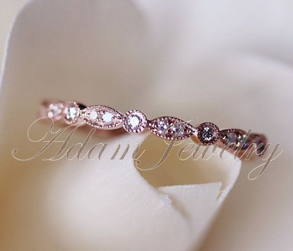 14k Rose Gold Art Deco Half Eternity  Diamonds Band  Wedding Ring/ Band Promise Ring/ Diamonds Ring/  Engagement Ring