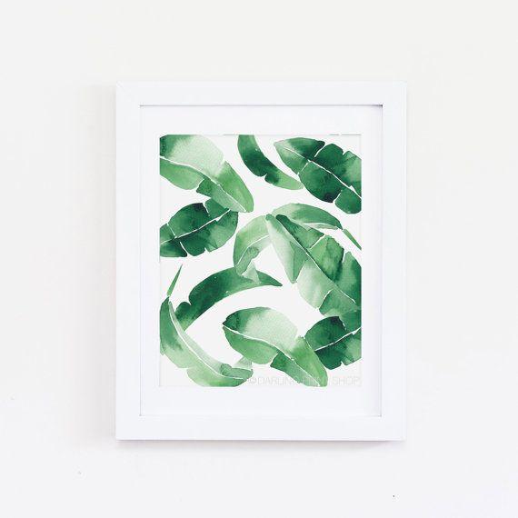 Banane Blatt 1 - Aquarell Kunstdruck - tropischen Smaragd grünen Palmwedel