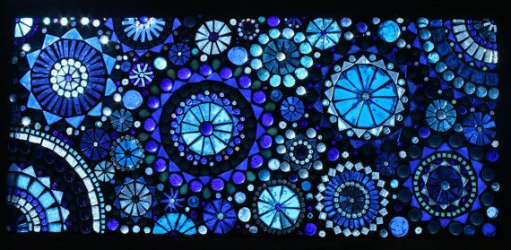 Blue stained glass mosaic