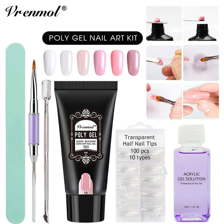 Vrenmol 30g Poly Gel Camouflage 6 Colors Extend Builder Nail Design Acrylic French Nail Tip Crystal Gum Jelly PolyGel. Yesterday's price: US $21.19 (17.43 EUR). Today's price: US $13.99 (11.56 EUR). Discount: 34%.