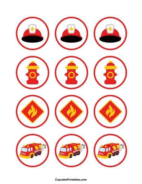 Fire truck cupcake toppers. Use the circles for cupcakes, party favor tags, and more. Free printable PDF download at http://cupcakeprintables.com/toppers/fire-truck-cupcake-toppers/
