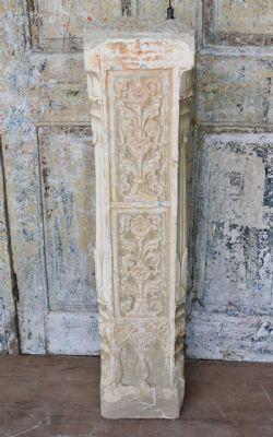 19th Century Sandstone Pillar with Ardash Plaster Detail