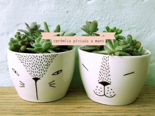 hand painted plantpot - maceteros pintados a mano :)