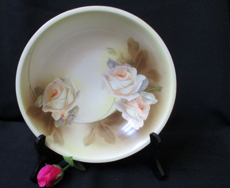 R.S. Germany China Bowl, Yellow Roses, Vintage China Bowl, Fruit Bowl, German Pottery, Wedding Decorations, European Home