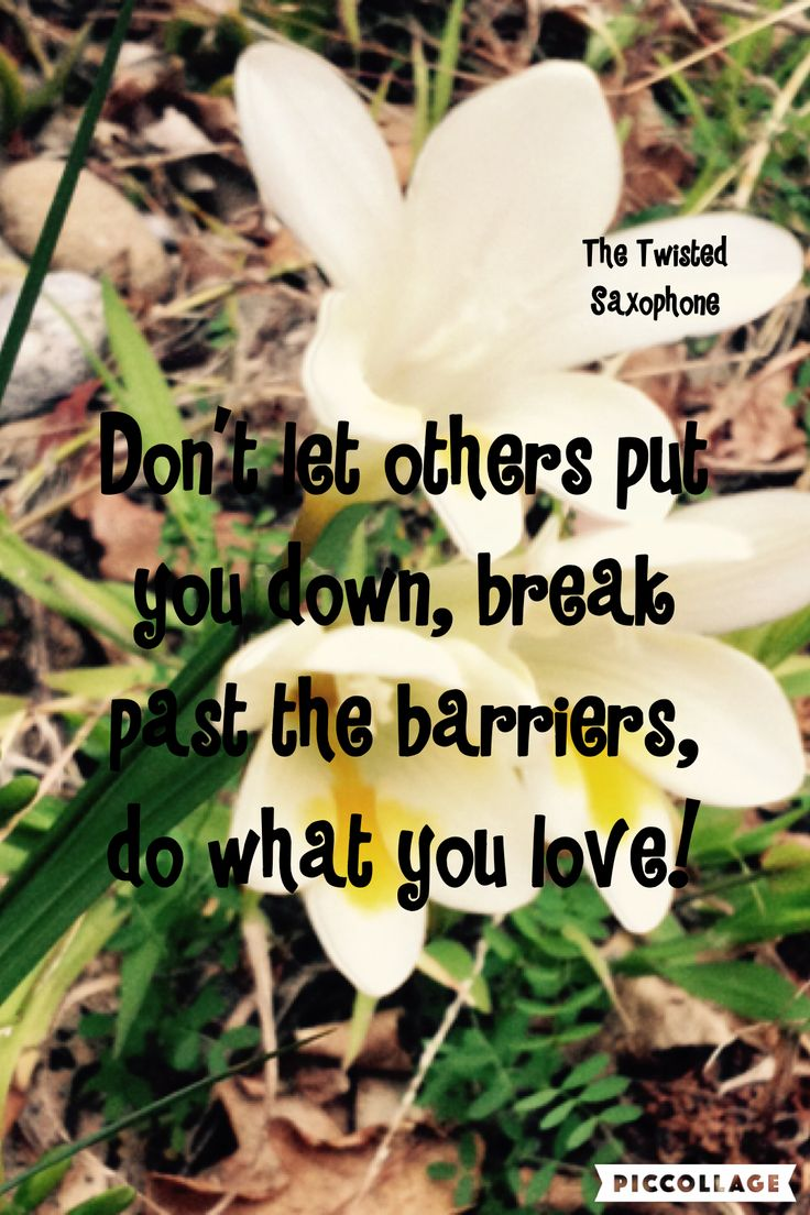 Don't let others put you down, break past the barriers, do what you love!