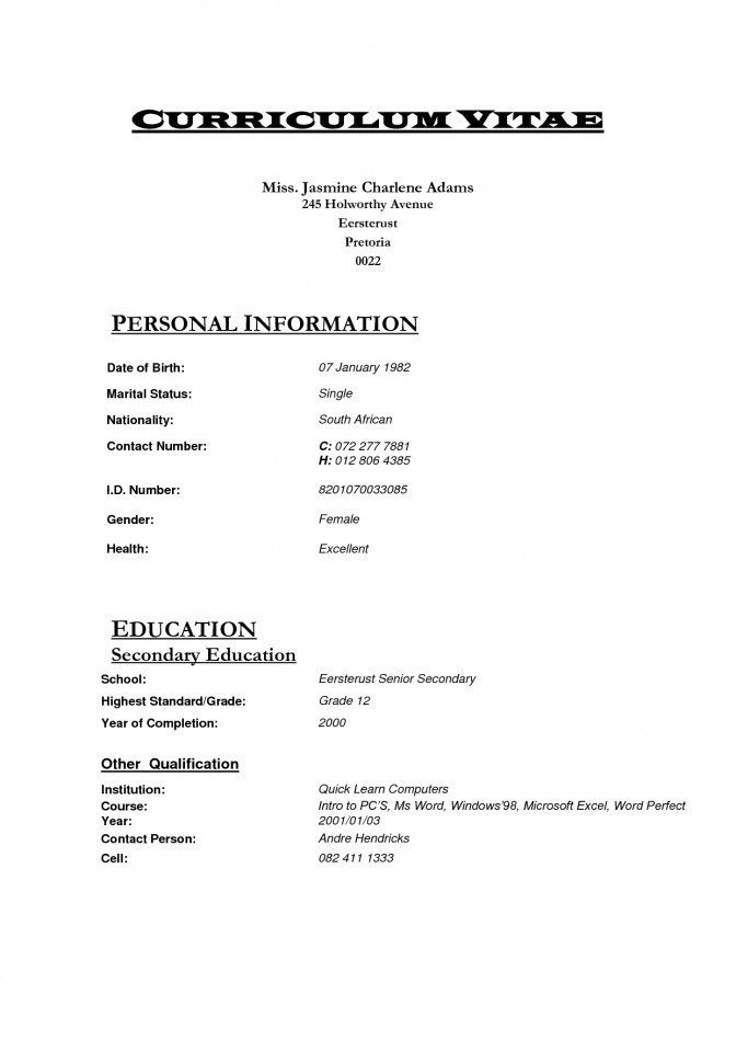 Great Simple Cv Template South Africa Gallery Curriculum