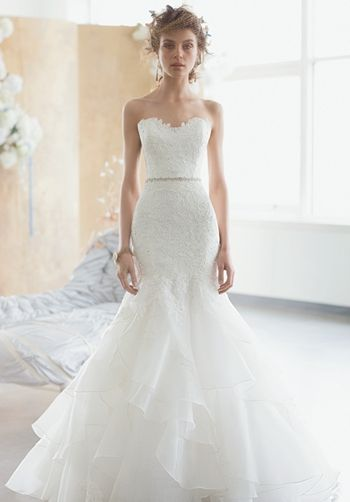 DRESS DETAILS  STRAPLESS ALENCON LACE ACCENTED FIT AND FLARE GOWN. LAYERED SKIRT