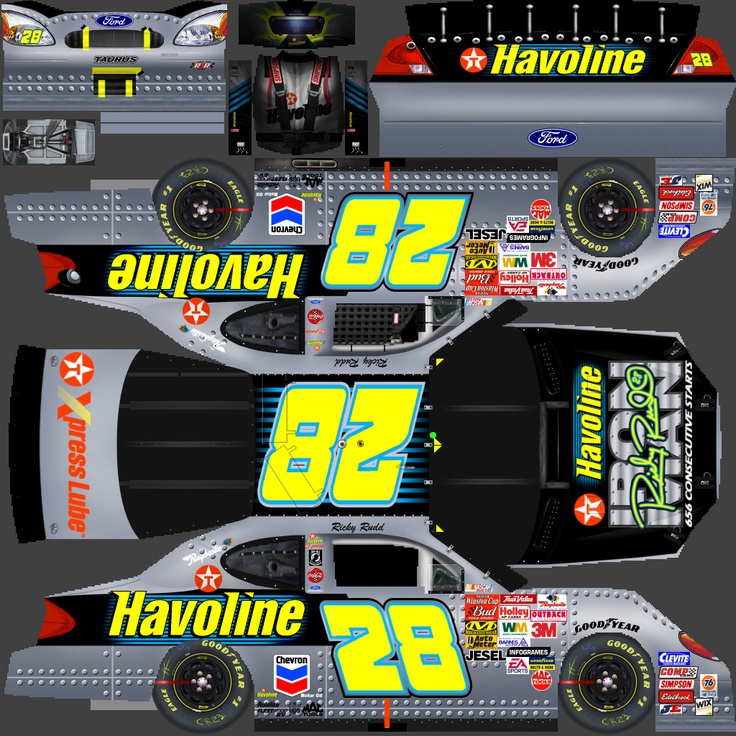 This is the flattened PSD file for Ricky Rudd's special Iron Man paint scheme from 2002. All the images, numbers, sponsor decals, colors, etc. are done (mostly as vector images) in Photoshop. This flattened image is imported into Nascar Racing 2003 and applied to the wireframe car models already there. The 3D renders are the final product of what this flat template becomes in the game.