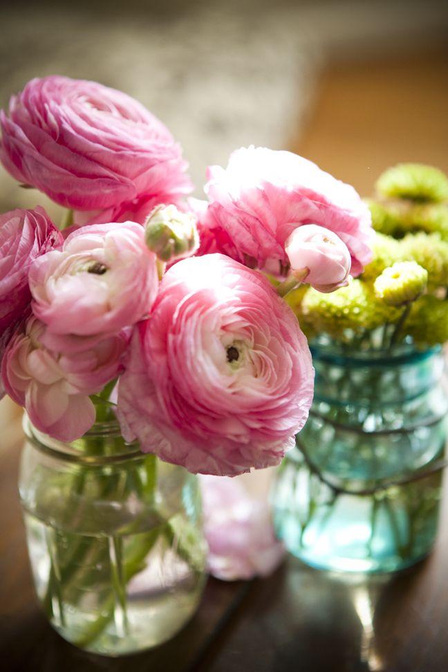 favoritePink Flower, Aqua Glasses, Ranunculus, Wedding Bouquets, So Pretty, Old Jars, Mason Jars, Pretty Flower, Pink Peonies