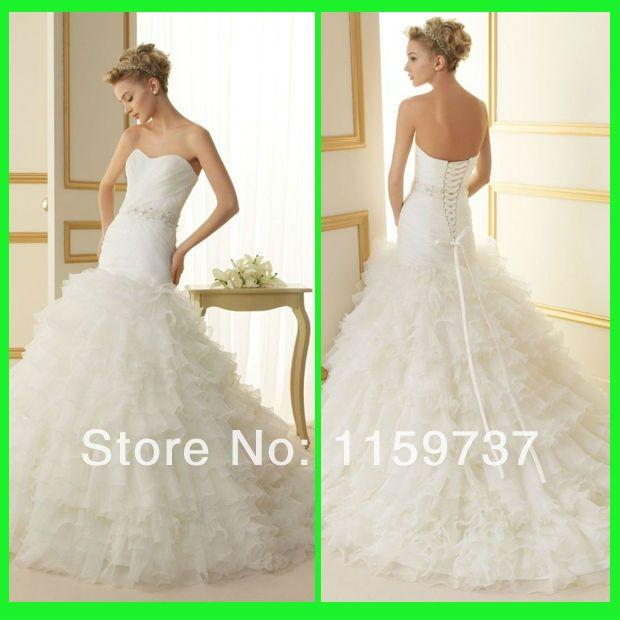 Индивидуальные Белый Органзы Моде Свадебные Платья Современные Женщины Длинные Длина Платья Для Невесты