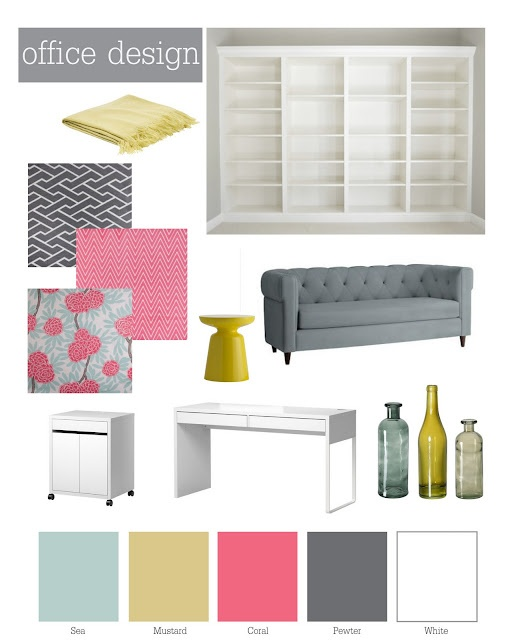 office color scheme. a modern coral pink and pewter grey color palette with floral chevron pattern accents perfect scheme for girly office d