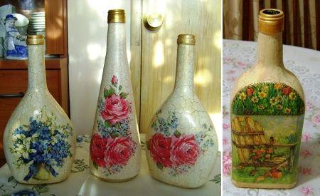 Botellas decoupage craqueladas, enviadas por Norma