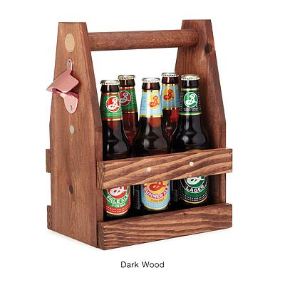 Look what I found at UncommonGoods: wooden beer tote with bottle opener...