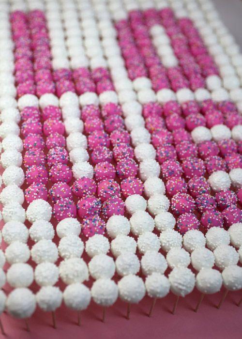 Whoa, make a beautiful design from tiny, teeny cake pops, adorable!