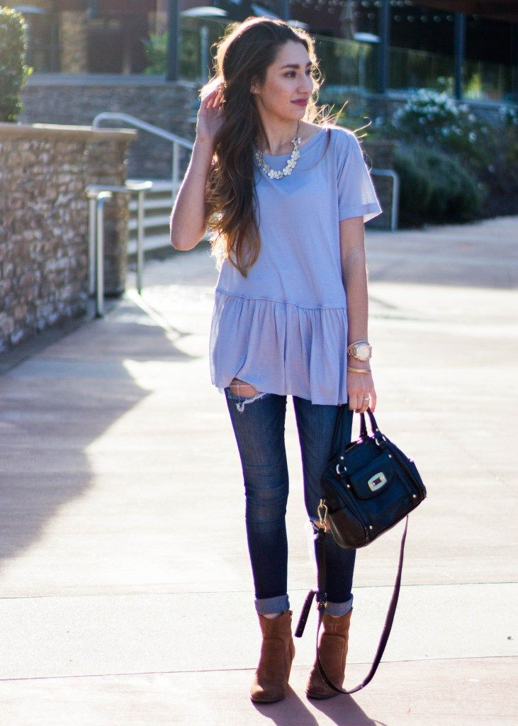 Peplum Outfit Inspiration Urban Outfitters Peplum tee in light baby blue shirt with distressed ripped hollister jeans and g.h. bass suede brown booties. spring summer outfit from Moo's Musing