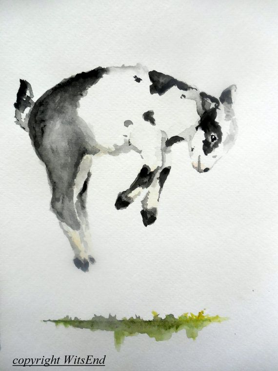 "'JOY, jumping"". Baby Goat painting original watercolor nursery Farm art by 4WitsEnd, via Etsy"