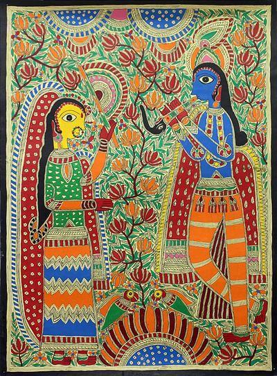 krishna madhubani paintings - Google Search