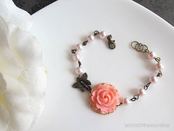 Pink Rose Bracelet. Pink swarovski pearls with butterfly bracelet. Wedding Jewelry Bridesmaid Gift. Pink Wedding Floral Bracelet.