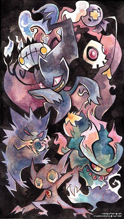 Chandelure, Banette, Duskull, Drifloon, Gengar, Misdreavus, Sableye #Pokemon