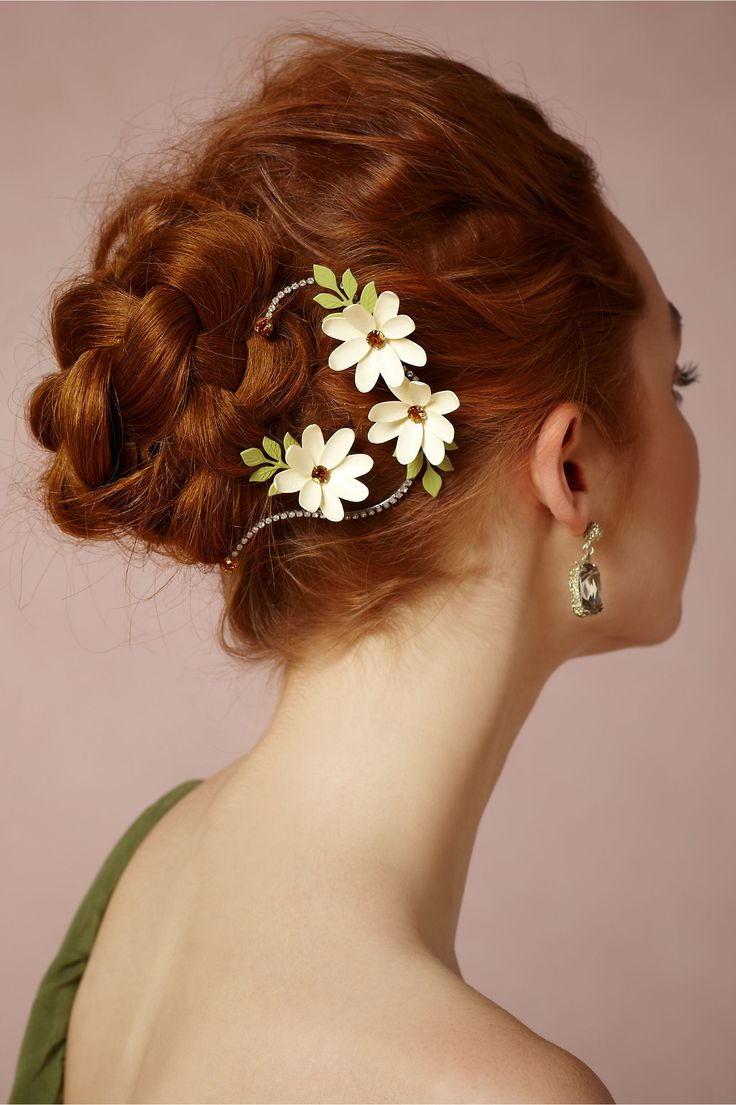 Medium hairstyles bridesmaid 2 - Twining Asters Hairpins 2 In New At Bhldn Hairstyles With Braidsredhead Hairstylesamazing Hairstylesmedium Hairstylesbridesmaid