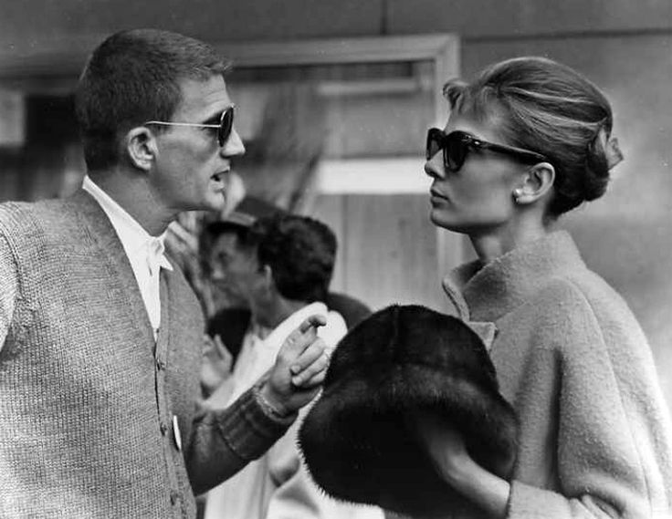 """Audrey with director Blake Edwards on the set of """"Breakfast at Tiffany's"""""""