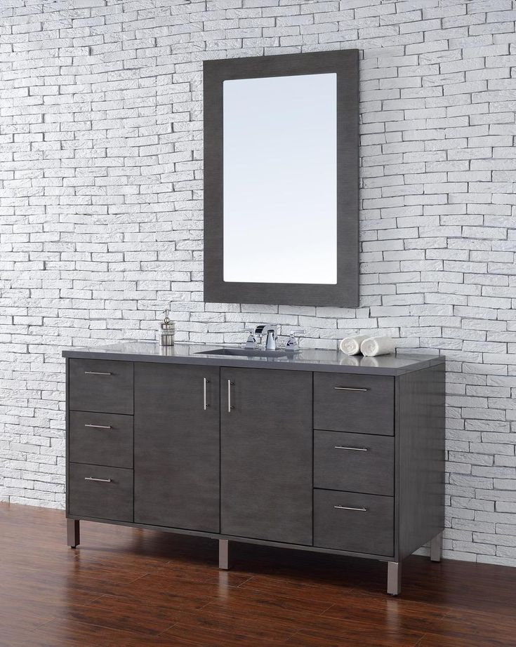 """60 inch Silver Oak Finish Single Sink Modern Bathroom Vanity Optional Countertop, http://www.listvanities.com/transitional-bathroom-vanity.html The bathroom cabinets may also be wall mounted, for a """"floating"""" vanity look. Heavy-duty brackets for wall mounting are included with the cabinet. This series looks very striking with out new Quartz solid-surface tops and rectangular basins."""
