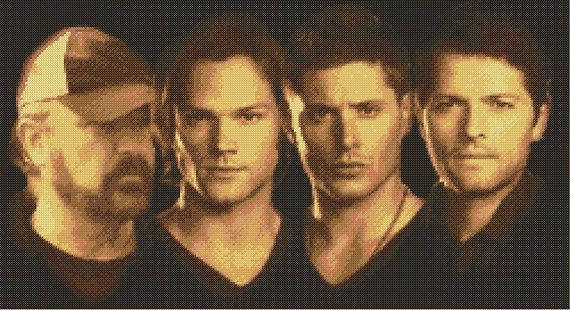 Supernatural Cast Cross Stitch Pattern Sam/Dean/Bobby/Castiel found on Etsy