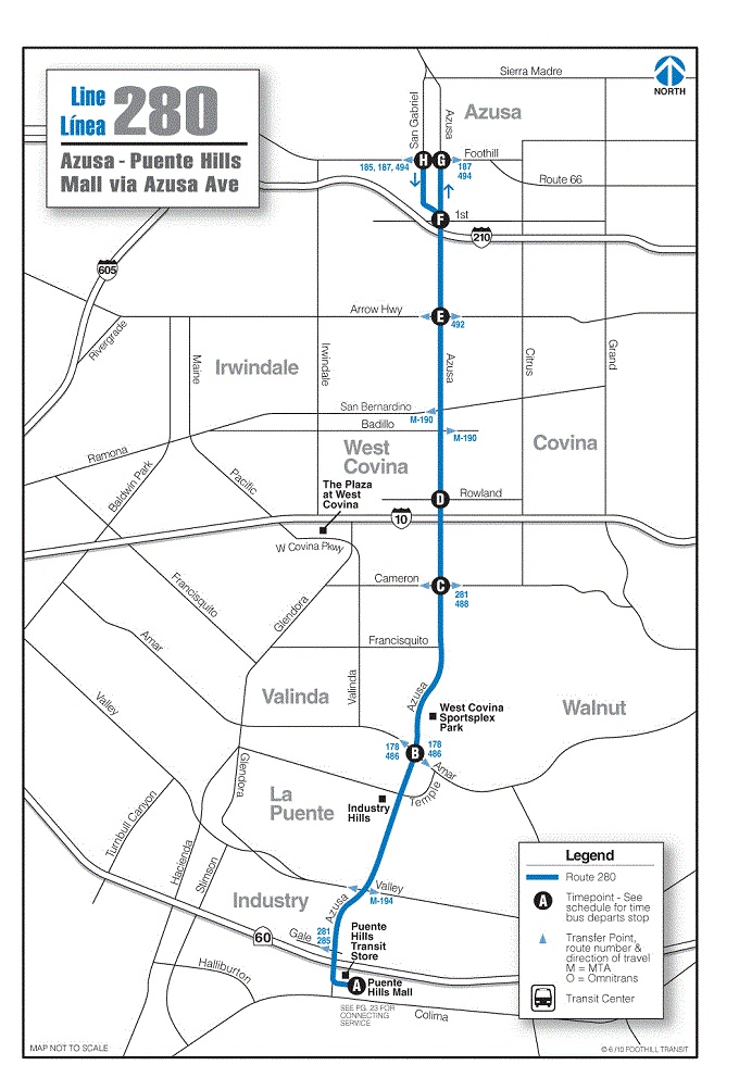 Foothill Transit Bus Schedule Line 280 Azusa - Puente Hills Mall via Azusa Ave
