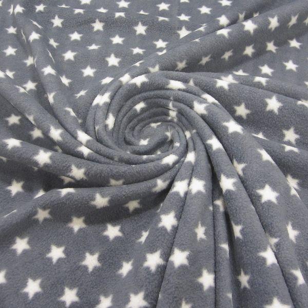 Stoff Polar Fleece Sterne Stern grau weiß Neu von Werthers Stoffe auf DaWanda.com