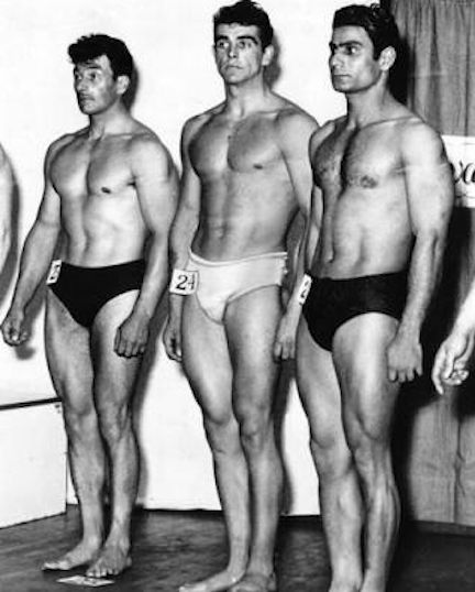Sean Connery (center) placed third in the Mr Universe competition in 1953 (in the truly amateur, pre-steroid days of bodybuilding)
