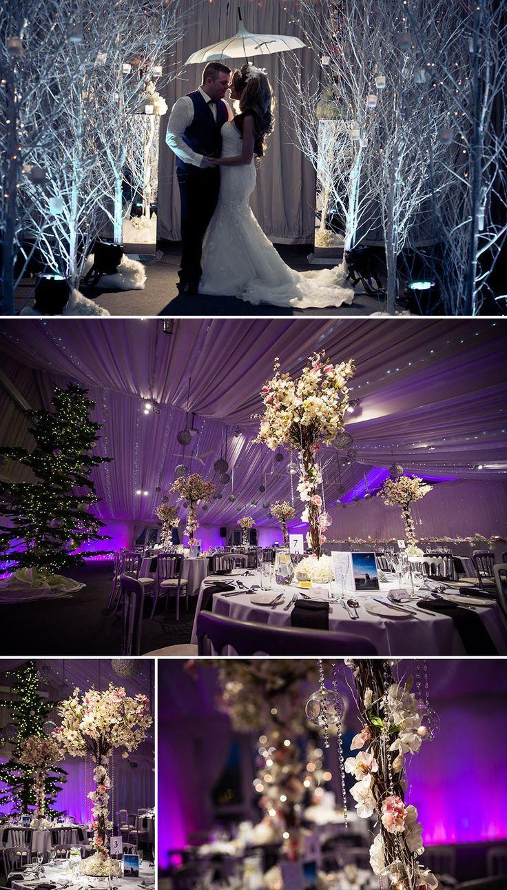 winter-weddings-The-Heaton-House-Farm, winter, wonderland wedding, purple, table decorations, wedding venue, umbrella, bride, wedding photography