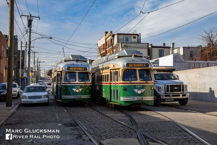 SEPTA PCC II trolleys on Frankford Ave. in 2020 River