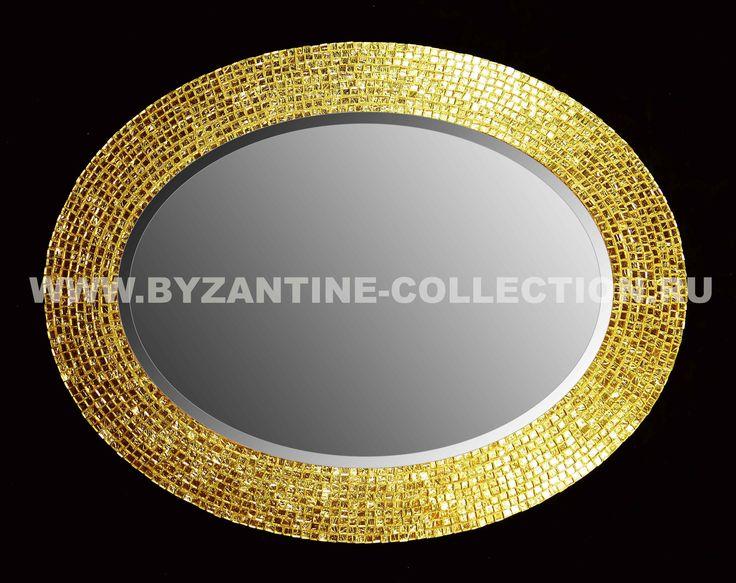 """Зеркало овальное из золотой смальты """"Золото Флоренции"""""""
