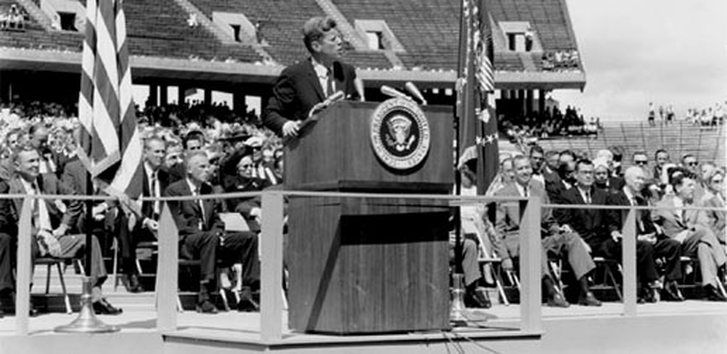 On that very hot late summer's day in 1962, President Kennedy spoke in philosophical terms about the need to solve the mysteries of space, reaffirmed America's commitment to landing a man on the moon before the end of the 1960s and also defended the enormous expense of the space program. Along the way, the President made humorous mentions of the Rice-Texas football rivalry and the blazingly hot weather.