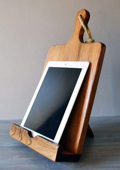 iPad And Cookbook Stand Combo Rustic Wood Cutting Board