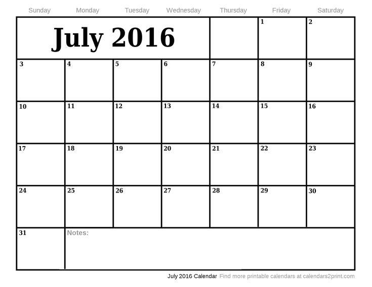 June July August 2016 Calendar