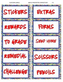 Classroom Organization Labels image 2