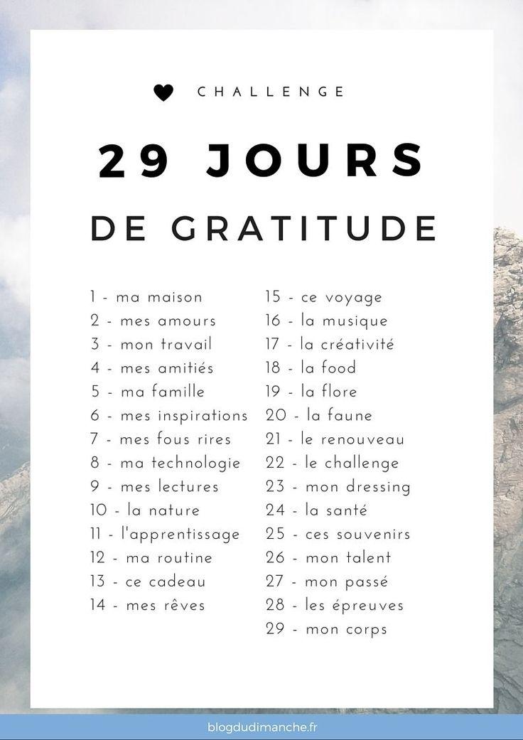 """Un défi """"bonheur"""" de 29 jours pour être plus heureux, plus reconnaissant et se sentir plus épanoui dans notre quotidien. A suivre dès février !                                                                                                                                                                                 Plus"""