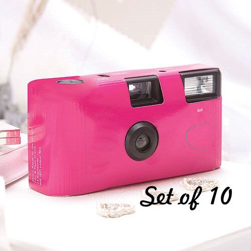 10 Disposable Cameras - Wedding Favor - Fuchsia Pink Camera - Disposable Wedding Camera - Photo Booth - Party - Single Use - Set of 10 by LoveandLuxeHandmade on Etsy https://www.etsy.com/listing/204491959/10-disposable-cameras-wedding-favor