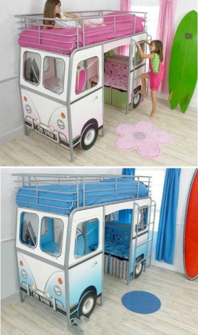 Kid's bed. Liv would love this could be a mystery machine for a scooby doo room