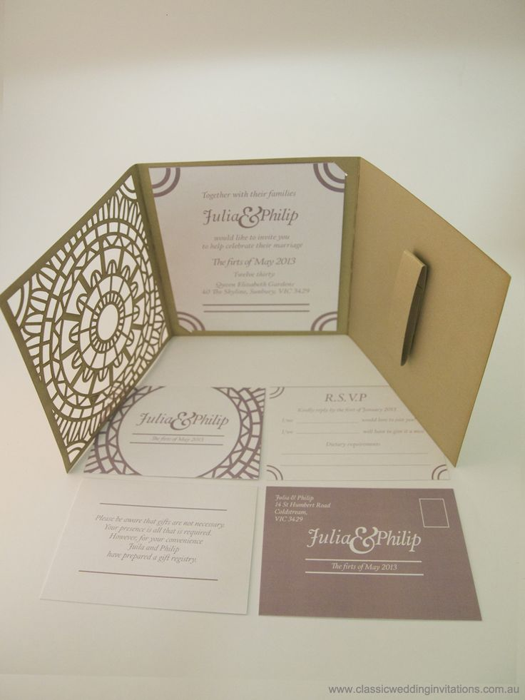 Moroccan- Trifold Wedding invitation - http://www.classicweddinginvitations.com.au/moroccan-trifold-laser-cut-invitation/ - From $8.00