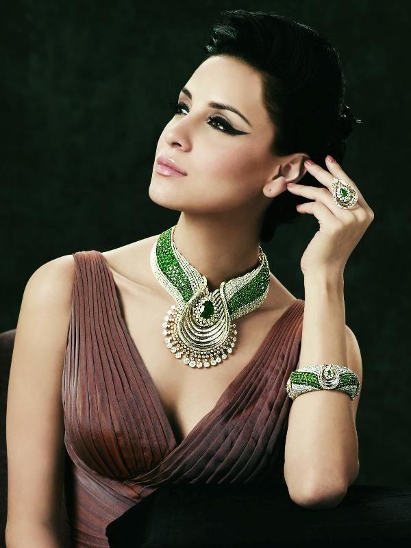 Gold and Diamond jewellery designs: TBZ original gorgeous designer diamond emerald necklace