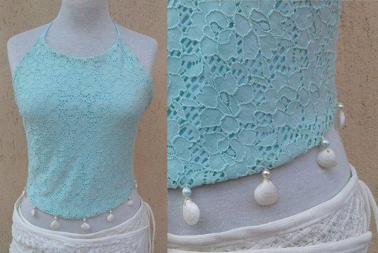 Top - Top in pizzo con conchiglie naturali e perline - un prodotto unico di SusannaSilicani su DaWanda