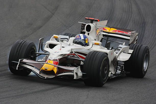 David Coulthard of Great Britain and Red Bull Racing drives during practice for the Brazilian Formula One Grand Prix at the Interlagos Circuit on...