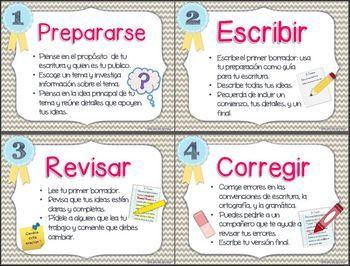 WRITING PROCESS IN SPANISH / EL PROCESO DE ESCRITURA - TeachersPayTeachers.com