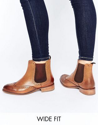 Dune Wide Fit Quenton Tan Leather Brogue Chelsea Boots