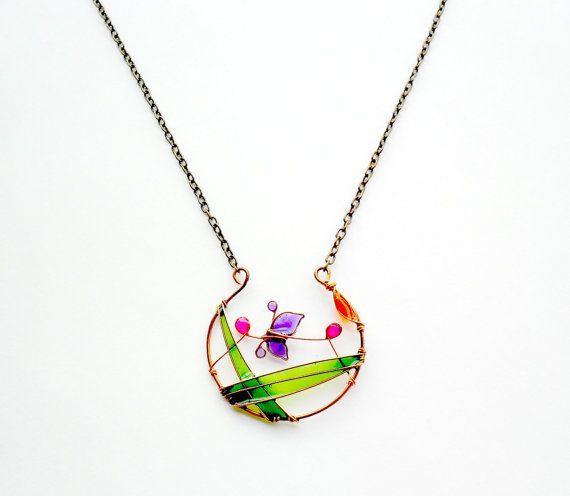 Purple butterfly necklace resin pendant bronze by ThePurpleBalloon