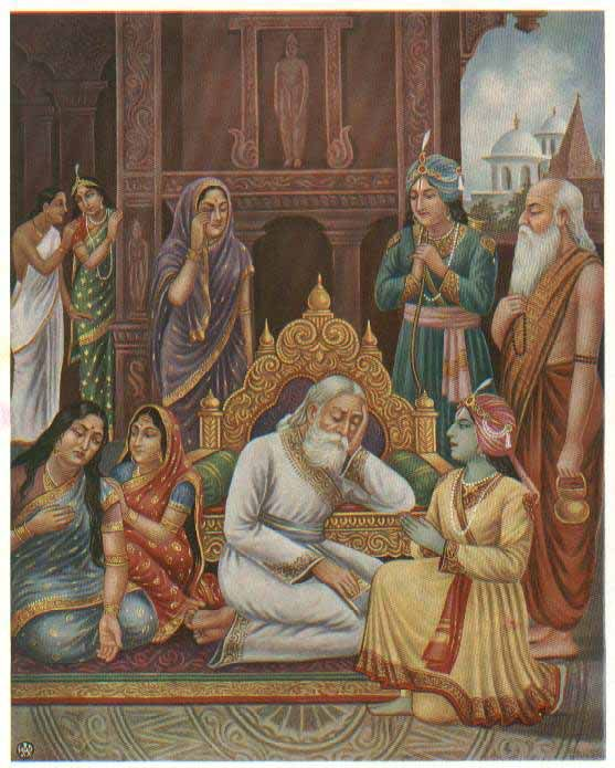 King Dasharatha grieves inconsolably at his obligation to banish Rama to the forest