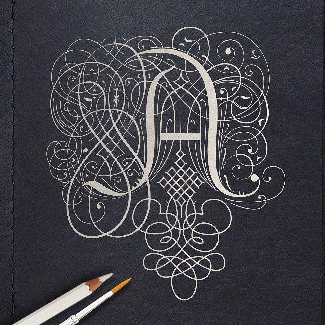 Letter A inspired by the penmanship of Jan van de Velde