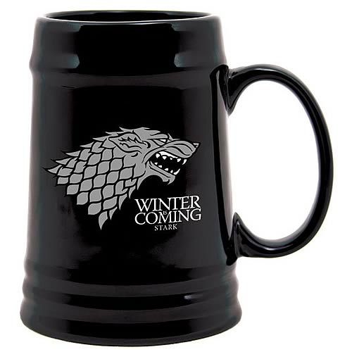 The temperatures are about to drop. Your tender hands will crack and shatter in the cold without mittens. Alternately you could keep them warm by holding on to a hot beverage of your choosing. Now imagine that working out even better because you have the House Stark Sigil on that cup of delicious heated goodness …